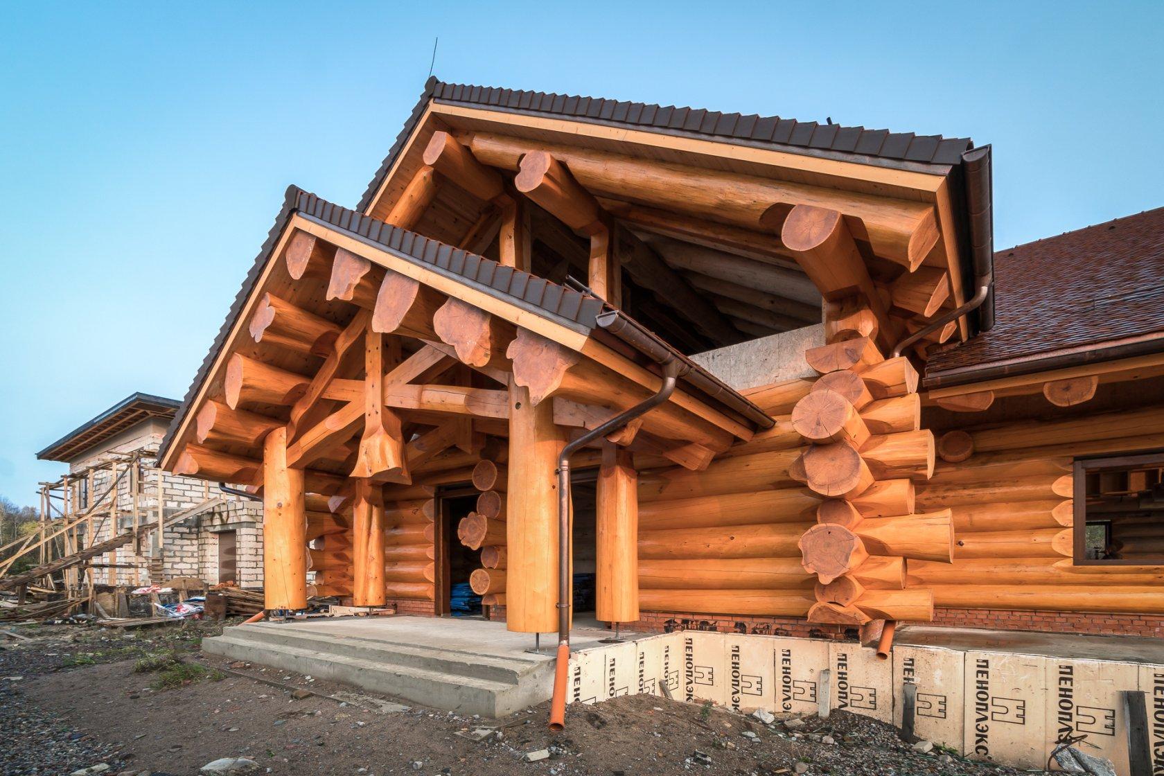 Смотреть фото домов с большими бревнами собранными